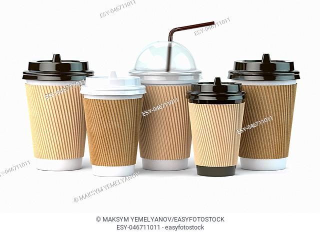 Set of coffee paper cups. Mockup template for cafe shop. Differnt types of coffee isolated on white background. 3d illustration