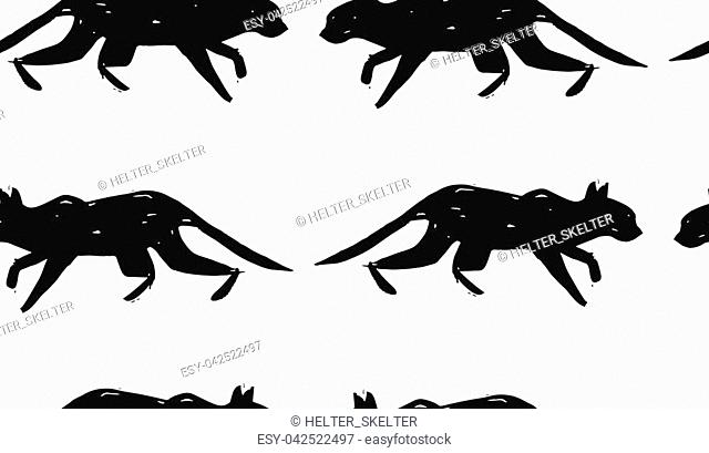 Hand made scandinavian nordic black and white pattern with silhouette of black cat isolated on white background.Simple animal fabric pattern
