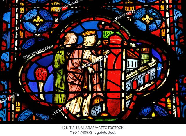 Details of 13th century stained glass windows in the royal palatine chapel, Sainte-Chapelle, in Paris, France. The chapel was built between 1242 and 1248 to...