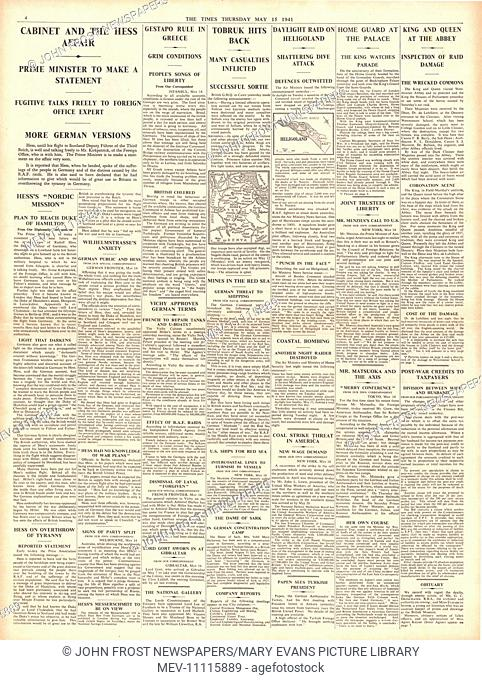 1941 page 4 The Times Rudolf Hess files to Britain and RAF bomb Heligoland