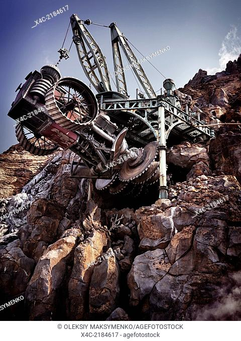 Steampunk fantasy land boring machine at Tokyo Disneysea theme park, Mysterious Island. Japan
