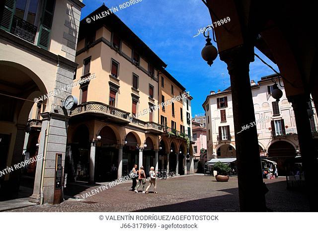 Piazza delle Erbe o P. Battisti. Novara. Italy