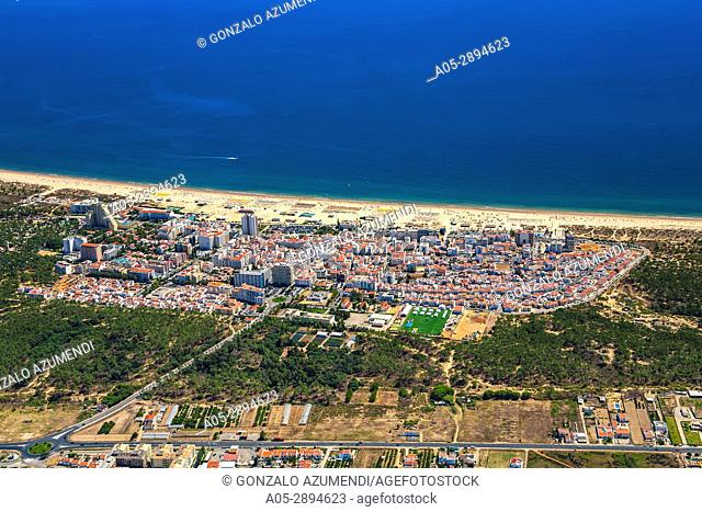 Monte Gordo beach and Monte Gordo. Vila Real de Santo Antonio council. Faro district. Algarve. Portugal