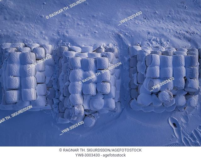 Snow covered Hay Rolls, Iceland