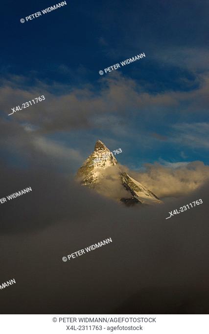 Mountain Matterhorn, Monte Cervino, Mont Cervin, 4.478 m, Rotenboden, Pennine Alps, Zermatt, Valais, Switzerland