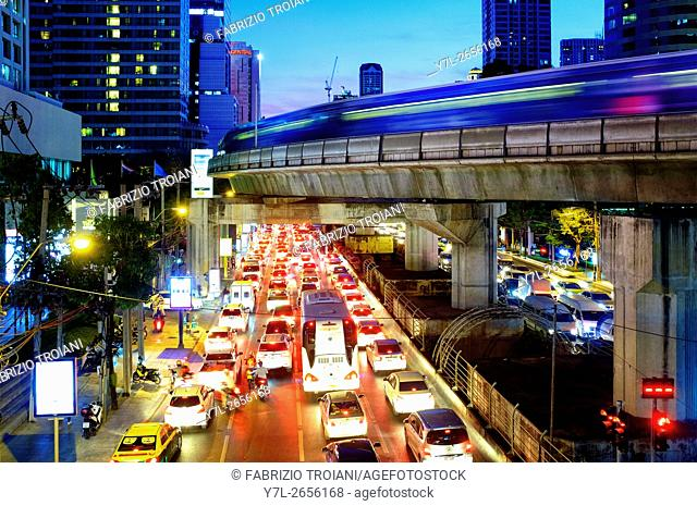 Traffic in Sathon Nuea Road, Bangkok, Thailand