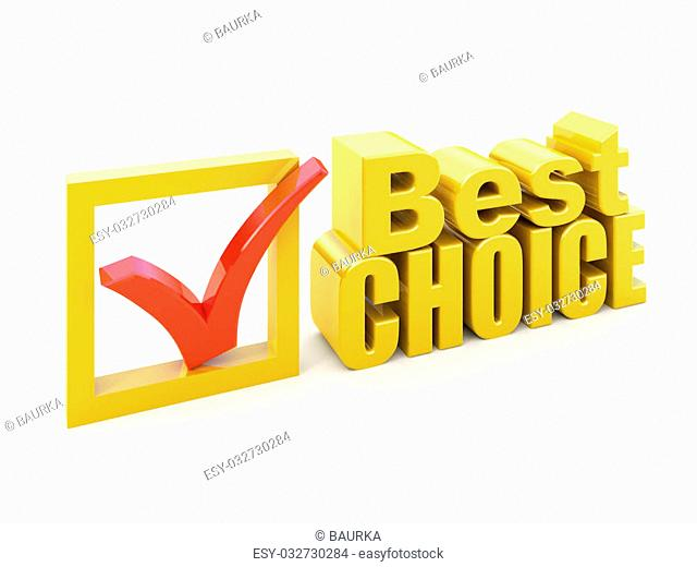 Best choice concept Check box with check mark award