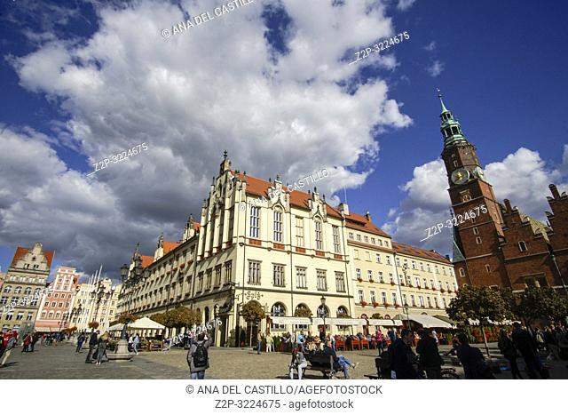 WROCLAW POLAND ON SEPTEMBER 29, 2018: Colorful evening scene on Wroclaw Market Square Rynek Poland