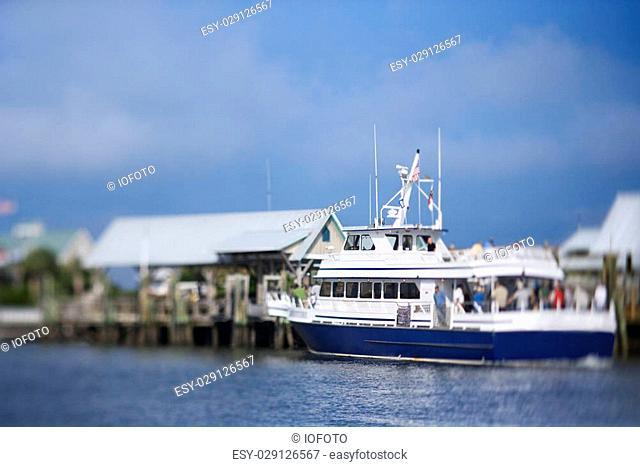 Ferry boat heading into port on Bald Head Island, North Carolina