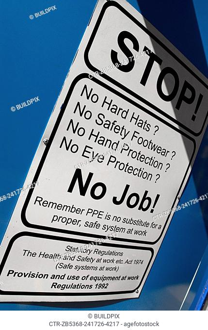 Health and Safety sign on construction site, UK