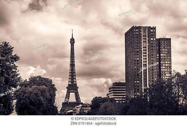eiffel tower and high-rise residential buildings, paris, ile de france, france