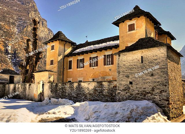 Rustic castle in a sunny winter day