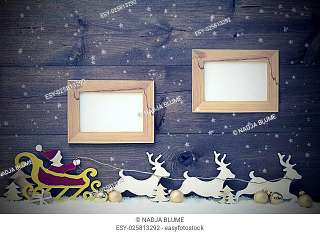 Vintage Gray Christmas Card With Decoration Like Red Santa Claus With Yellow Sled And White Reindeer On Snow, Snowflakes