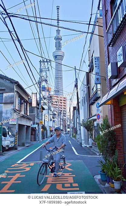 Sky Tree from Mukojima quarter,Sumida District, Tokyo, Japan