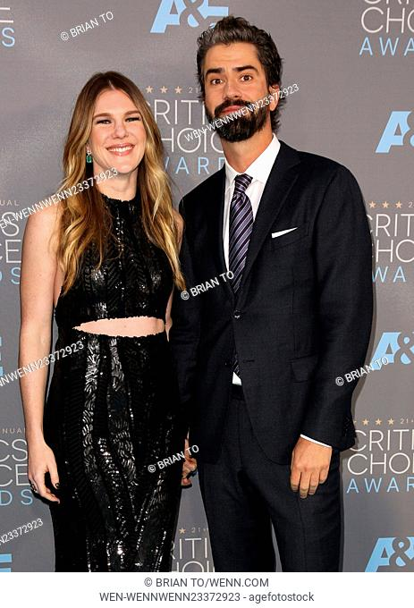 Celebrities attend The 21st Annual Critics' Choice Awards at Barker Hangar. Featuring: Lily Rabe, Hamish Linklater Where: Los Angeles, California