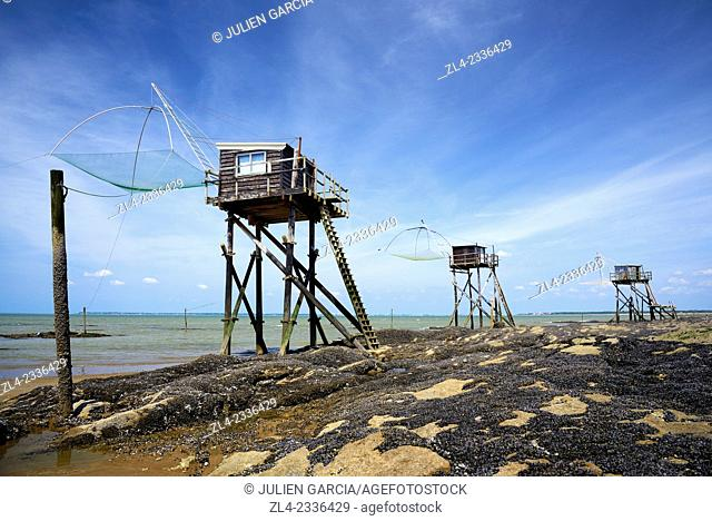Traditional carrelet fishing huts with lift nets. France, Loire-Atlantique, Saint-Michel-Chef-Chef, Tharon beach