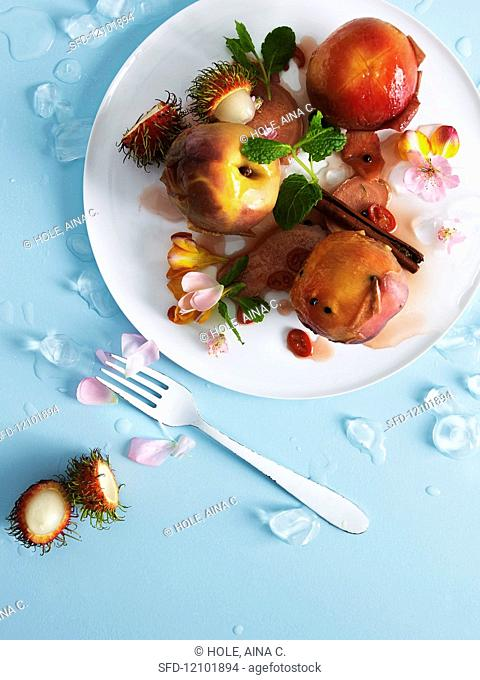 Iced nectarines with Rambutans
