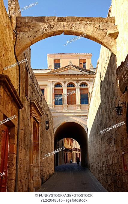 Street of medieval Rhodes, Greece, UNESCO World Heritage Site