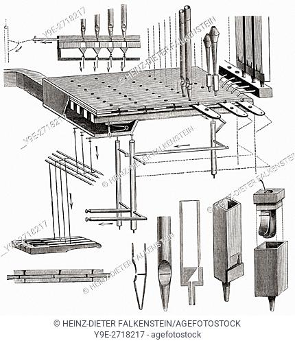 Schematic function of a pipe organ Stock Photos and Images | age