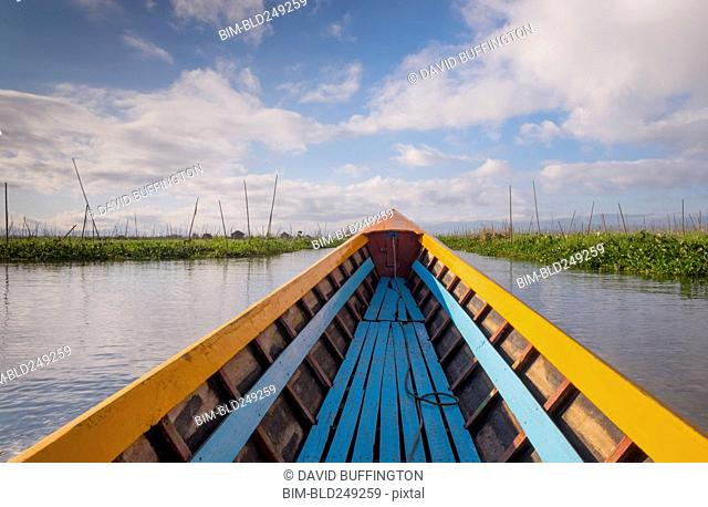Bow of boat in river
