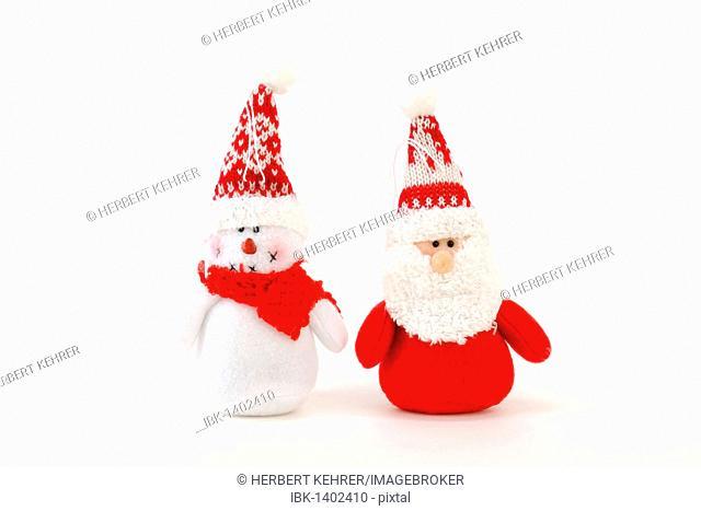 Santa Claus and snowman made of fabric, plush