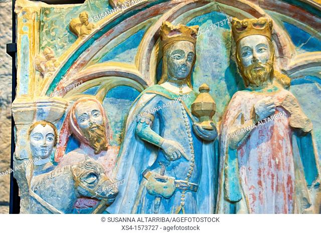 Epiphany, Gothic altarpiece stone from church of Preixana. Armed Magician Queen. At present preserved in the Diocesan Museum of Solsona, Lleida, Catalonia
