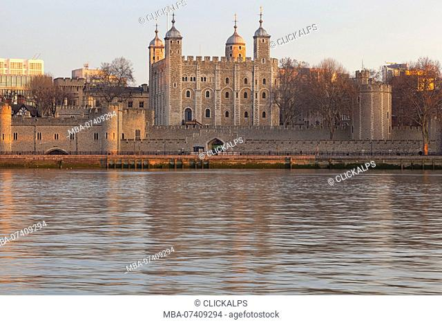 The Tower of London reflected on river Thames, London, Great Britain, UK