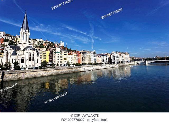 Saone river in Lyon city
