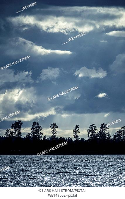 Lake and trees in silhouette at night with dramatic sky. Landscape in Sweden. Nature scene background in blue color tones