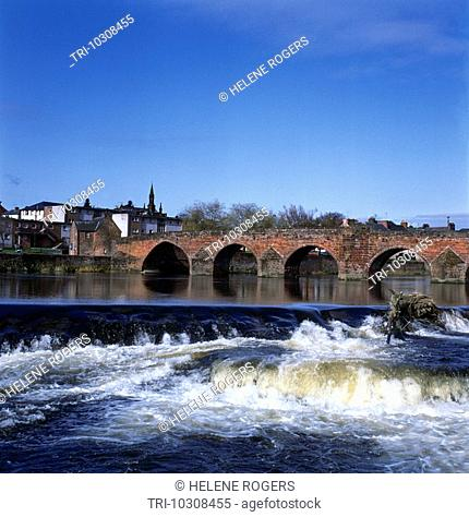 Dumfries Scotland Bridge River Nith In Flood