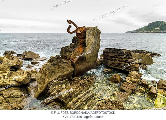 Comb of the wind, sculpture by Eduardo Chillida  San Sebastian, Gipuzkoa, Basque Country, Spain  Europe
