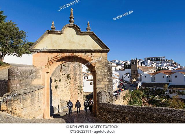 Ronda, Malaga Province, Andalusia, southern Spain. Arch of Philip V, built 1742. Arco de Felipe V