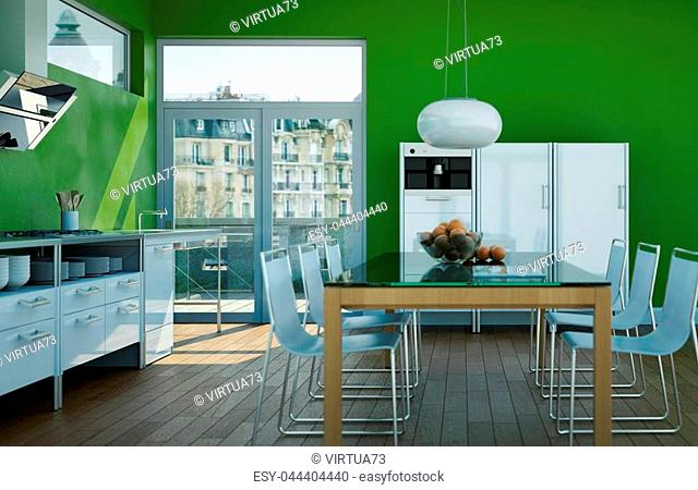 3d Illustration of white modern kitchen in a house with with green walls