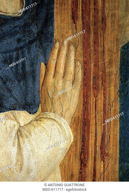 St Dominic at the feet of Jesus Crucified, by Guido di Pietro (Piero) known as Beato Angelico, 1438 - 1446, 15th Century, curved fresco with marble frame