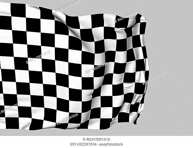 Background with waving racing three-dimensional checkered flag of end race