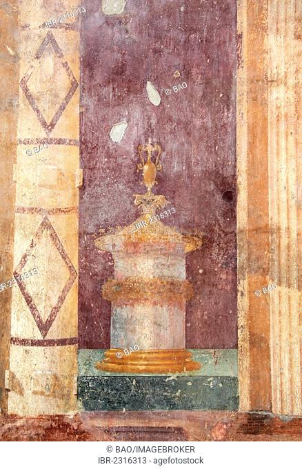 Villa of Poppea, remains of frescoes, historical town of Oplontis, now Torre Annunziata, Campania, Italy, Europe