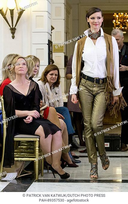 Princess Margarita de Bourbon de Parme presents her jewelry line Leaves during the fashion show of Dutch designer Sheila de Vries in the Amstel hotel in...