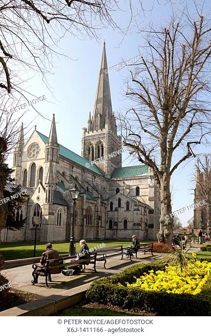 Chichester Cathedral with spring flowers