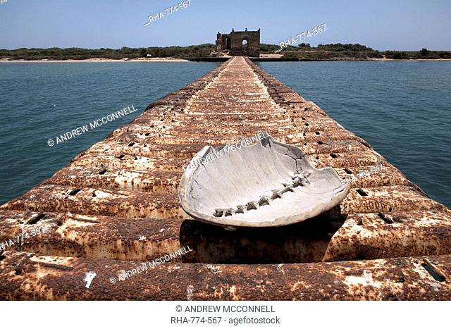 A turtle shell lies on a rusting jetty leading to Green Island, Massawa, Red Sea, Eritrea, Africa
