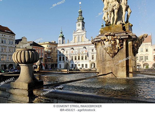 Samson fountain, historic old town of Ceske Budejovice, Budweis, Budvar, south Bohemia, Czech Republic