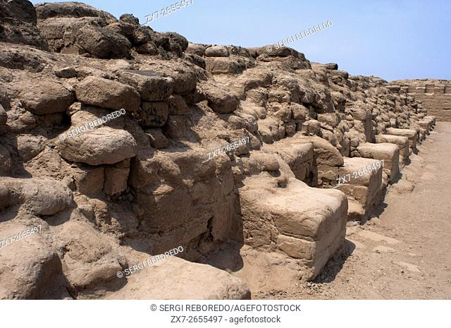 Temple of the Sun (1450 AC). Pachacamac is a large archaeological site a few miles south of Lima that was once a mojor pilgrimage destination, Lima, Peru