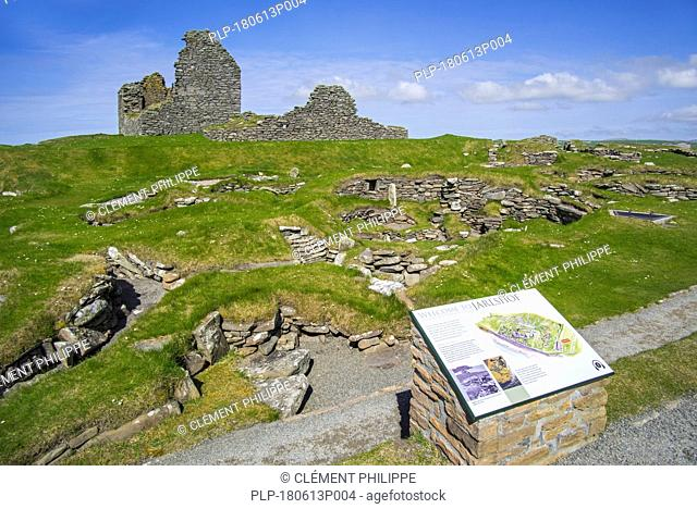 Jarlshof, archaeological site showing prehistoric, Norse settlements and 17th century laird's house at Sumburgh Head, Shetland Islands, Scotland, UK