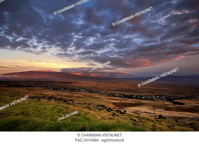 View of Mauna Kea and Hualalai from Kohala Mountain; Waimea, Island of Hawaii, Hawaii, United States of America