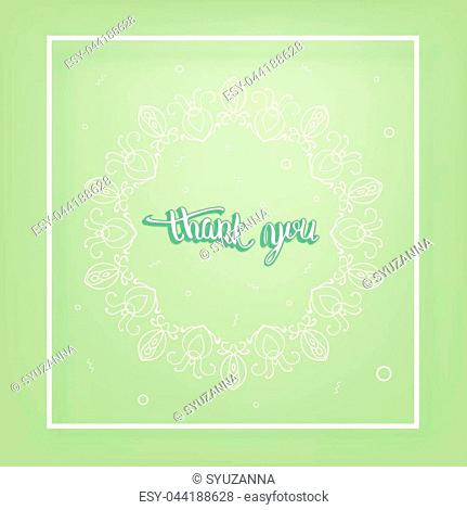 Thank you card. Banner with handwritten lettering and vintage round frame. Thank you phrase. Vector illustration