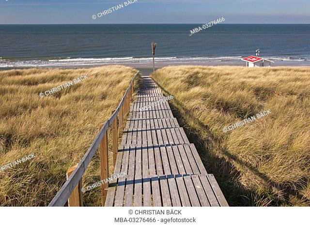 Beach path in Rantum, island Sylt, Schleswig - Holstein, Germany