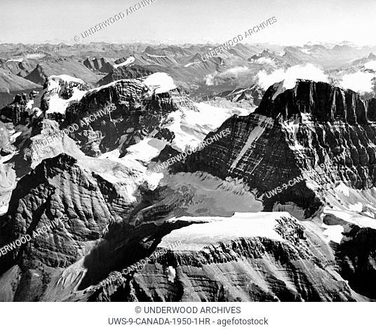 Jasper National Park, Alberta, Canada: c. 1955. The Winston Churchill Range in the Canadian Rockies in Jasper National Park