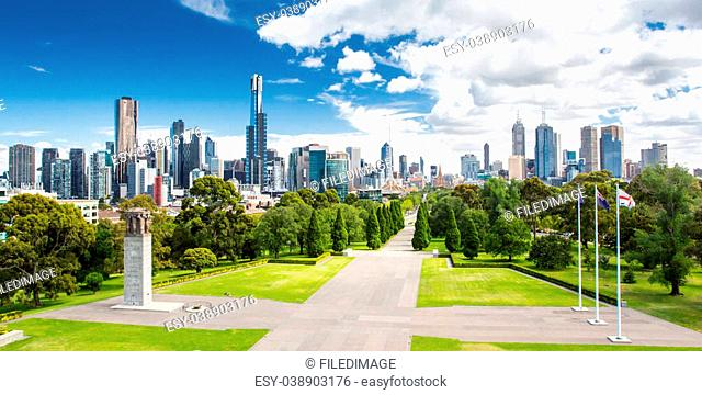 The view from the Shrine of Remembrance towards Melbourne CBD on a hot summer's day