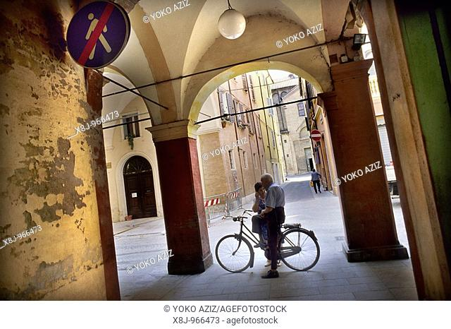 Daily life in the old town Modena, Italy