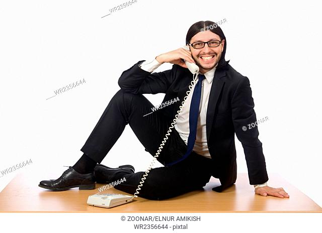 Businessman in business concept isolated on white