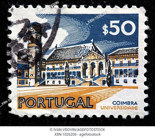 Coimbra university, postage stamp, Portugal